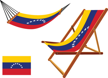 venezuela hammock and deck chair set against white background, abstract vector art illustration Vector