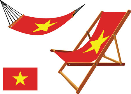 vietnam hammock and deck chair set against white background, abstract vector art illustration