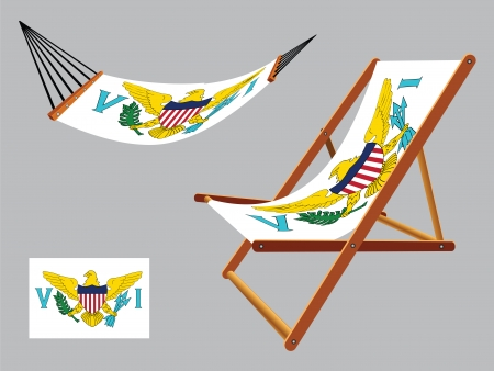 virgin islands: virgin islands hammock and deck chair set against gray background, abstract vector art illustration