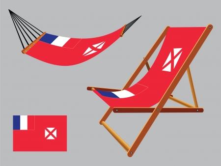 transat: Wallis et Futuna hamac et chaise longue un fond gris, illustration vectorielle art abstrait Illustration