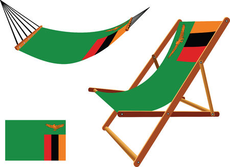 zambia hammock and deck chair set against white background, abstract vector art illustration Vector