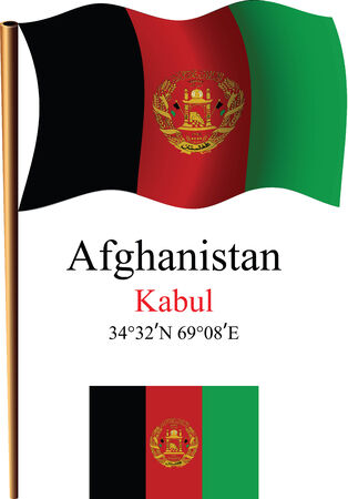 afghanistan wavy flag and coordinates against white background, vector art illustration, image contains transparency Ilustracja