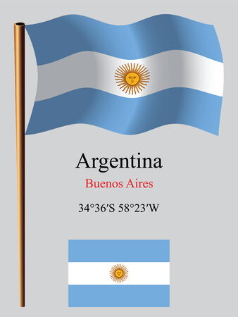 coordinates: argentina wavy flag and coordinates against gray background, vector art illustration, image contains transparency Illustration