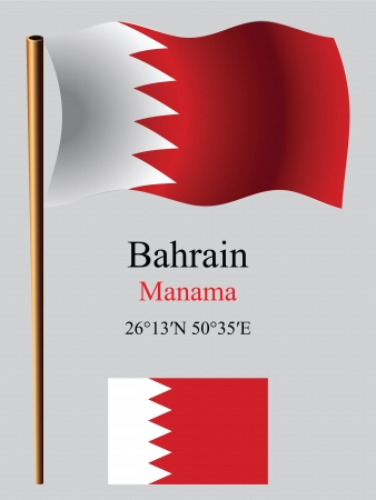 bahrain wavy flag and coordinates against gray background, vector art illustration, image contains transparency