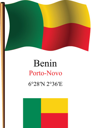 benin wavy flag and coordinates against white background, vector art illustration, image contains transparency