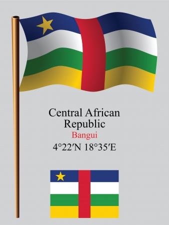 central african republic wavy flag and coordinates against gray background, vector art illustration, image contains transparency Çizim