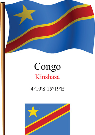 congo wavy flag and coordinates against white background, vector art illustration, image contains transparency