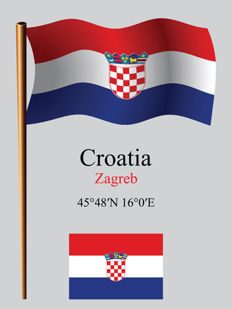 croatia wavy flag and coordinates against gray background, vector art illustration, image contains transparency