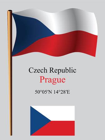 czech republic wavy flag and coordinates against gray background, vector art illustration, image contains transparency
