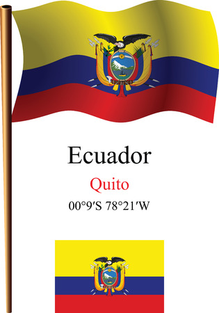 coordinates: ecuador wavy flag and coordinates against white background, vector art illustration, image contains transparency Illustration