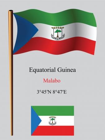 guinea equatoriale: guinea equatoriale bandiera e coordinate contro sfondo grigio ondulato, illustrazione vettoriale arte, immagine contiene trasparenza Vettoriali