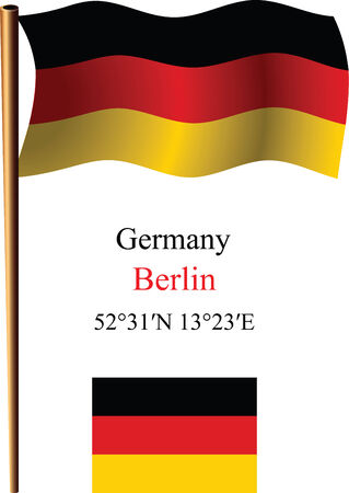 germany wavy flag and coordinates against white background, vector art illustration, image contains transparency