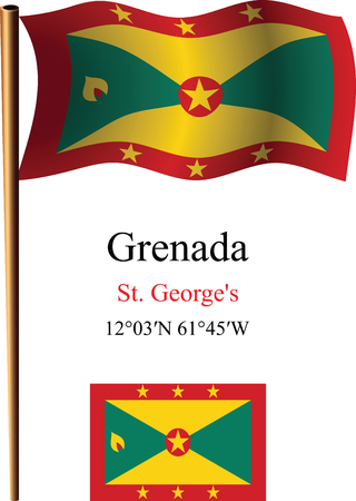 grenada wavy flag and coordinates against white background, vector art illustration, image contains transparency Ilustracja