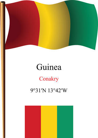 coordinates: guinea wavy flag and coordinates against white background, vector art illustration, image contains transparency
