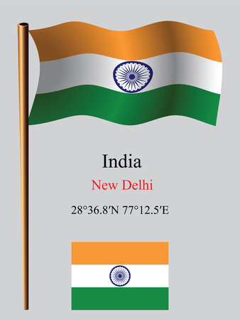 coordinates: india wavy flag and coordinates against gray background, vector art illustration, image contains transparency