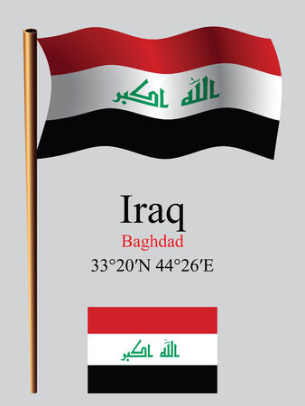 iraq wavy flag and coordinates against gray background, vector art illustration, image contains transparency Vector