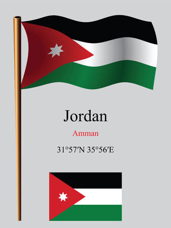 jordan wavy flag and coordinates against gray background, vector art illustration, image contains transparency Çizim