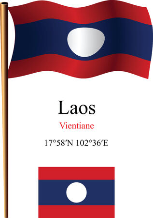 laos wavy flag and coordinates against white background, vector art illustration, image contains transparency Ilustracja