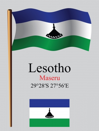 lesotho: lesotho wavy flag and coordinates against gray background, vector art illustration, image contains transparency