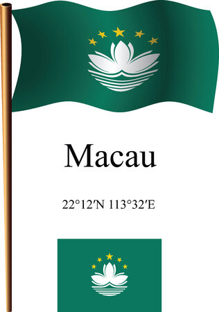 coordinates: macau wavy flag and coordinates against white background, vector art illustration, image contains transparency