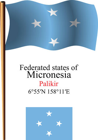 micronesia: micronesia wavy flag and coordinates against white background, vector art illustration, image contains transparency Illustration