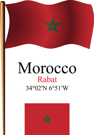 morocco wavy flag and coordinates against white background, vector art illustration, image contains transparency