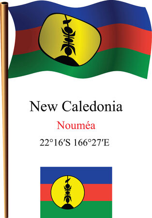 new caledonia wavy flag and coordinates against white background, vector art illustration, image contains transparency