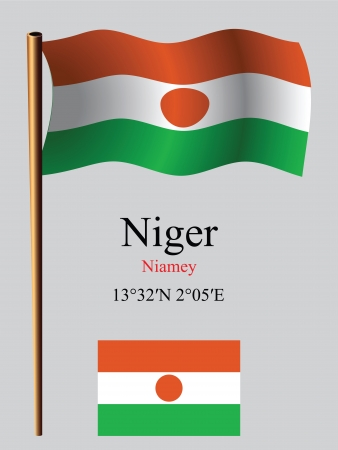 niger wavy flag and coordinates against gray background, vector art illustration, image contains transparency
