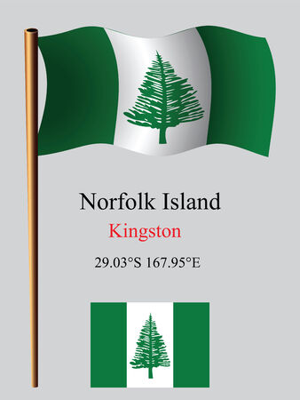 norfolk island wavy flag and coordinates against gray background, vector art illustration, image contains transparency