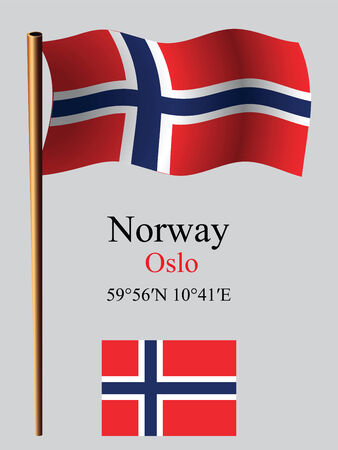 coordinates: norway wavy flag and coordinates against gray background, vector art illustration, image contains transparency