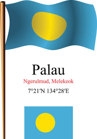 palau wavy flag and coordinates against white background, vector art illustration, image contains transparency Ilustracja