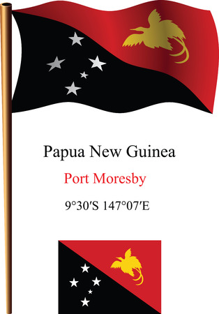 papua new guinea wavy flag and coordinates against white background, vector art illustration, image contains transparency Ilustracja