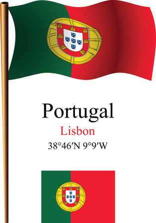 portugal wavy flag and coordinates against white background, vector art illustration, image contains transparency 矢量图像