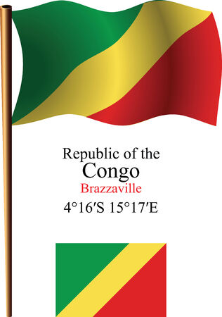 coordinates: republic of the congo wavy flag and coordinates against white background, vector art illustration, image contains transparency