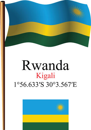 kigali: rwanda wavy flag and coordinates against white background, vector art illustration, image contains transparency