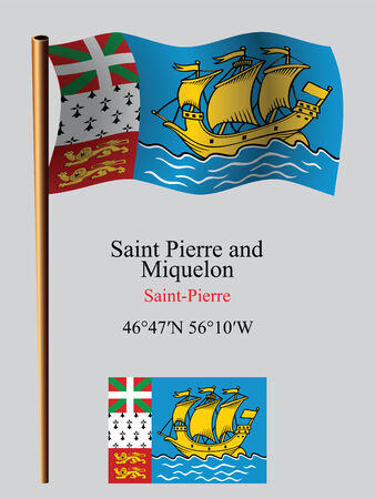 saint pierre and miquelon wavy flag and coordinates against gray background, vector art illustration, image contains transparency Ilustracja