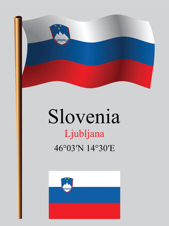 coordinates: slovenia wavy flag and coordinates against gray background, vector art illustration, image contains transparency