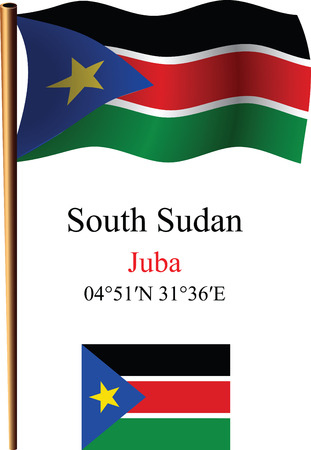 south sudan wavy flag and coordinates against white background, vector art illustration, image contains transparency