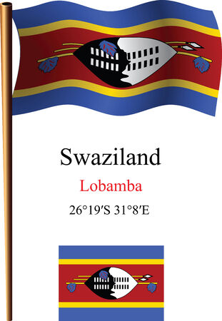coordinates: swaziland wavy flag and coordinates against white background, vector art illustration, image contains transparency