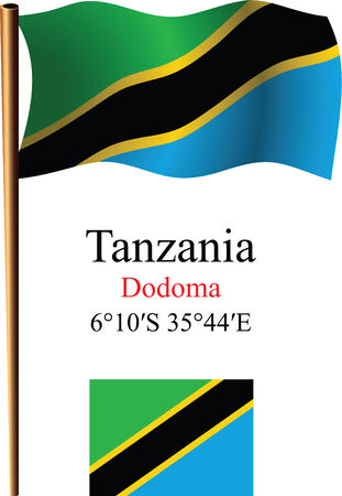 tanzania wavy flag and coordinates against white background, vector art illustration, image contains transparency