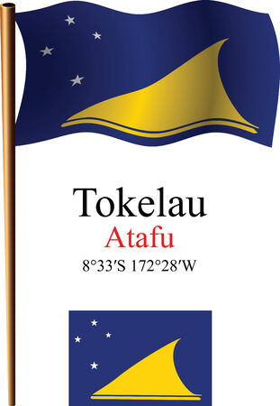 tokelau: tokelau wavy flag and coordinates against white background, vector art illustration, image contains transparency