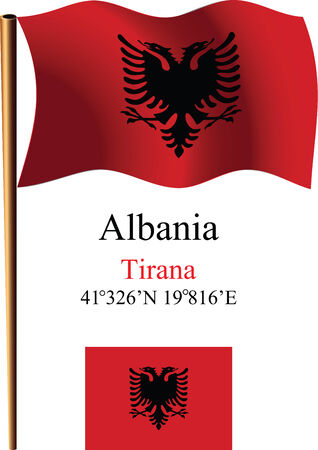 albania wavy flag and coordinates against white background, vector art illustration, image contains transparency Ilustracja