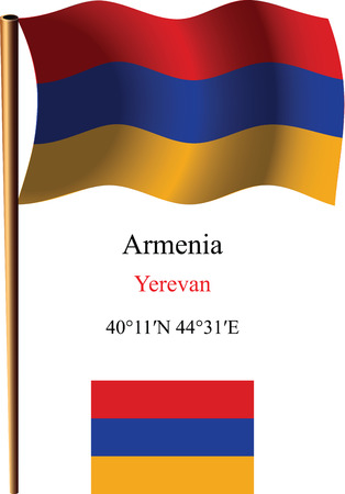 armenia wavy flag and coordinates against white background, vector art illustration, image contains transparency Vector