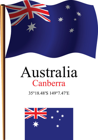australia wavy flag and coordinates against white background, vector art illustration, image contains transparency Ilustracja