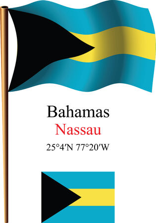 bahamas wavy flag and coordinates against white background, vector art illustration, image contains transparency