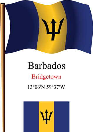 barbados wavy flag and coordinates against white background, vector art illustration, image contains transparency Illustration