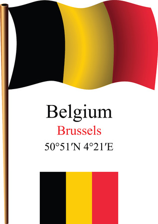 coordinates: belgium wavy flag and coordinates against white background, vector art illustration, image contains transparency Illustration