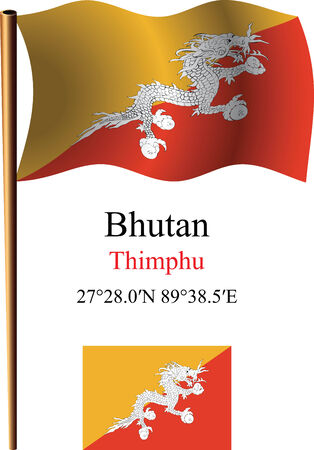 coordinates: bhutan wavy flag and coordinates against white background, vector art illustration, image contains transparency