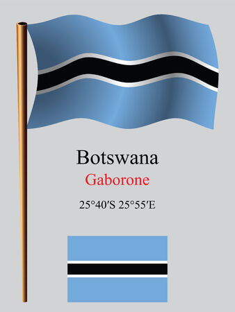 botswana wavy flag and coordinates against gray background, vector art illustration, image contains transparency Ilustracja