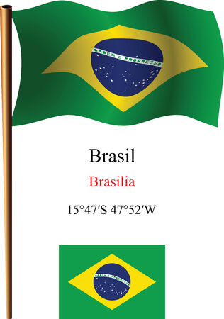 brasil wavy flag and coordinates against white background, vector art illustration, image contains transparency